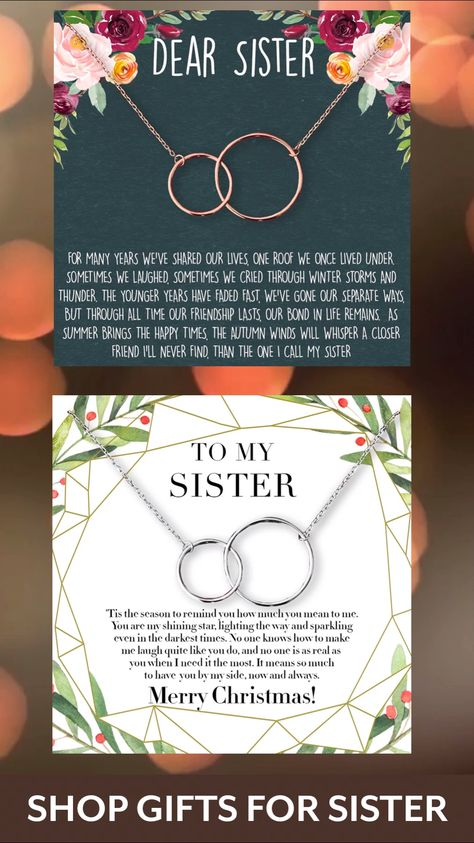 How do people make it through life without a sister? She may not always be there with you, but she'll always be there for you through thick and thin. Sometimes, the girl who's always there for everyone else needs someone there for her. Celebrate your connection of love and friendship with these interlocking circles.