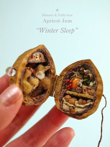 winter sleep walnut diorama