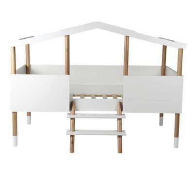 lit cabane 90x190 200 enfant blanc