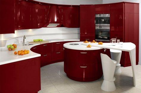 Cuisine rouge et blanche | cuisine | Cuisine rouge ...