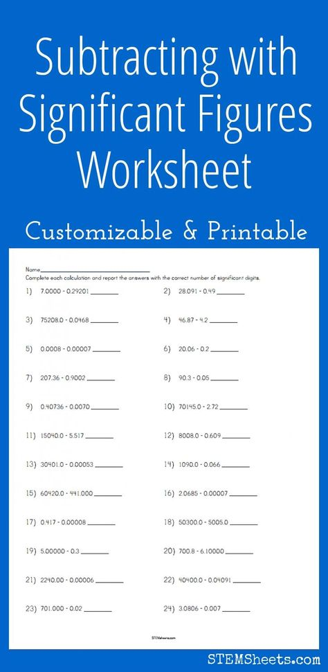 Subtracting with Significant Figures Worksheet ...