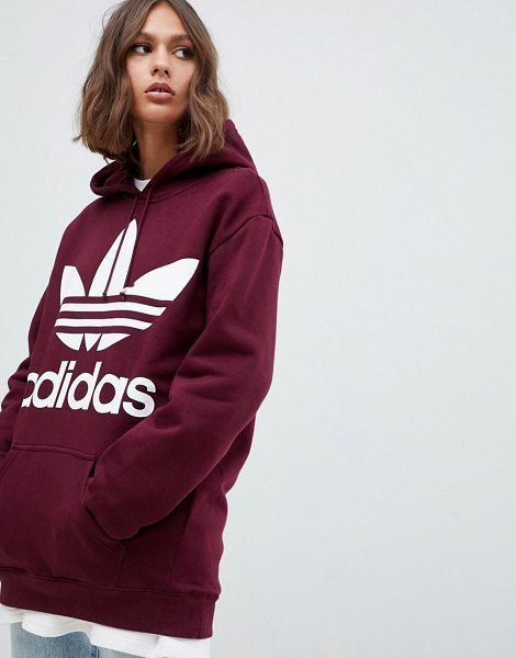 Originals Outsized Trefoil Brand Hoody In Burgundy | Ropa ...