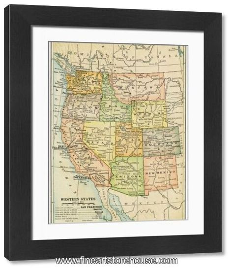 Print of USA Western states map 1898