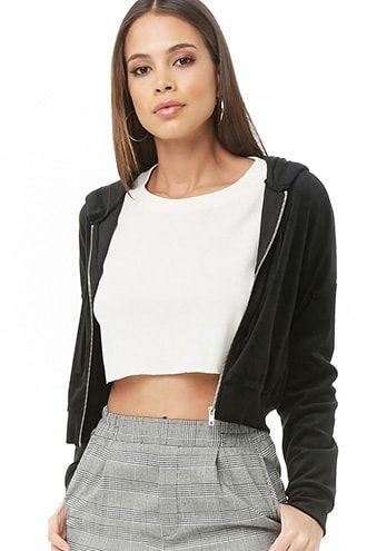 Womens Ladies Zip Up Fleece Zipper Hooded Hoodie Hoody Sweatshirt Cropped Top