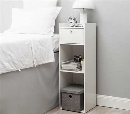 Ideal Nightstand For Raised College Dorm Beds Two Shelves Of Open Bottom Storage For Quick Access To Tall Nightstands White Nightstand White Bedroom Furniture