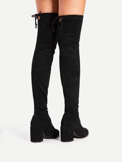 Tie Back Over Knee Block Heeled Boots