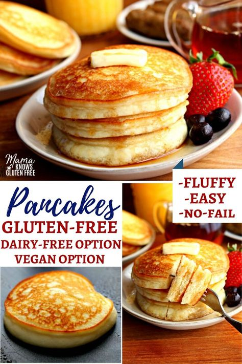An easy gluten-free pancake recipe with a dairy-free and vegan option. This gluten-free pancake mix makes fluffy pancakes every time! #glutenfreerecipe #dairyfree #vegan #pancakes