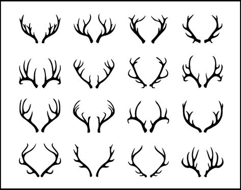 Buy Deer Antlers Set by on GraphicRiver. Vector deer antlers isolated on white. Set of different antlers large, branched and acute Deer Antler Tattoos, Stag Tattoo, Hunting Tattoos, Deer Track Tattoo, Raven Tattoo, Stag Antlers, Deer Horns, Deer Skulls, Antler Art