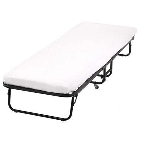 Roll Away Folding Guest Bed Frame With 4 Inch Comfort Foam