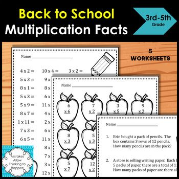 Back To School Multiplication Facts Worksheets 5 Worksheets In All Includes 5 Word Problems Multiplication Facts Worksheets Multiplication Facts Word Problems