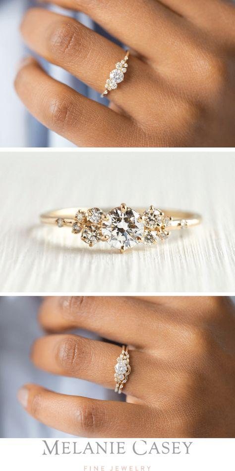 SNOWDRIFT RING 0.3ct. Diamond, 14k Yellow Gold Unique Engagement Ring