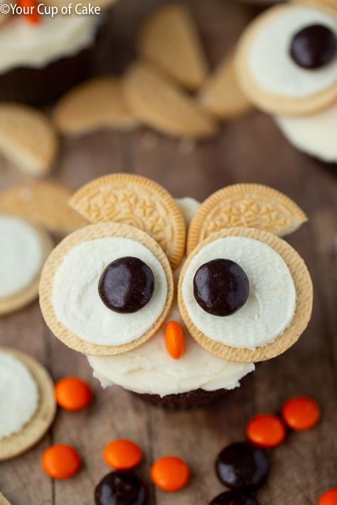 Love this cupcake decorating idea for kids, Easy Oreo Owl Cupcakes!You can find Owl cupcakes and more on our website. Halloween Cookie Recipes, Halloween Cookies Decorated, Easy Halloween, Halloween Party, Ladybug Cakes, Owl Cakes, Kid Cupcakes, Cupcake Cakes, Fruit Cakes