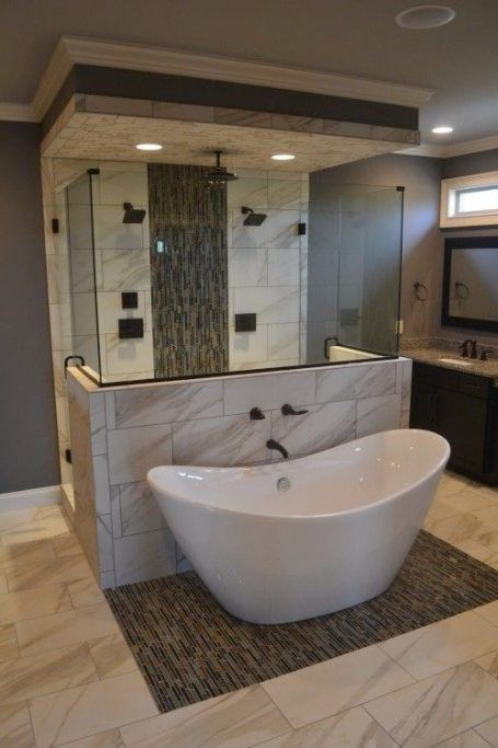 Gorgeous Space Saving Tub And Shower Layout With Deep Soaking Tub