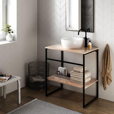 Mueble Baño Kairos Gris Grafito 80 X 50 Cm Leroy Merlin Muebles De Lavabo Muebles De Baño Muebles Baño Moderno