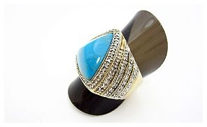 Groupon - Turquoise Ring with silver & 14KG plate in [missing {{location}} value]. Groupon deal price: $69