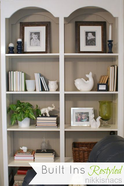 Liking the greenery on these built-ins | Nikkis' Nacs: The Built Ins -  Restyled | Inspiration: Built-In Bookcase | Pinterest | Built ins, Greenery  and ...