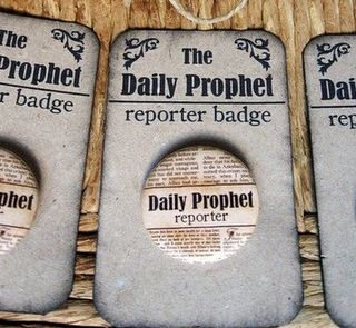 Harry Potter party inspiration - daily prophet reporter badges