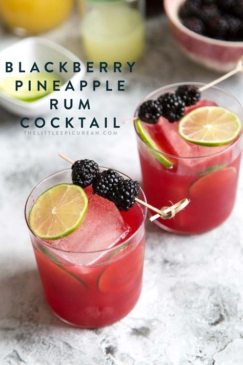 The combination of flavors in this blackberry pineapple rum cocktail brings to mind tropical vibes and summertime fun. Rum Cocktails, Summer Cocktails, Cocktail Drinks, Fun Drinks, Yummy Drinks, Alcoholic Drinks, Beverages, Easy Rum Drinks, Rum Cocktail Recipes