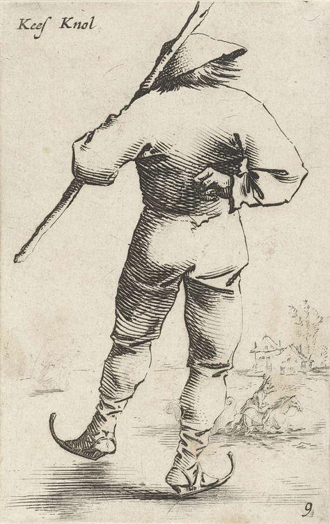 Salomon Savery | Schaatsende man, van achter gezien, Salomon Savery, Pieter Jansz. Quast, 1630 - 1665 | De prent maakt deel uit van een twaalfdelige serie prenten met voorstellingen van boeren.