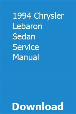 1994 Chrysler Lebaron Sedan Service Manual Repair Manuals Legacy Outback Vespa Px