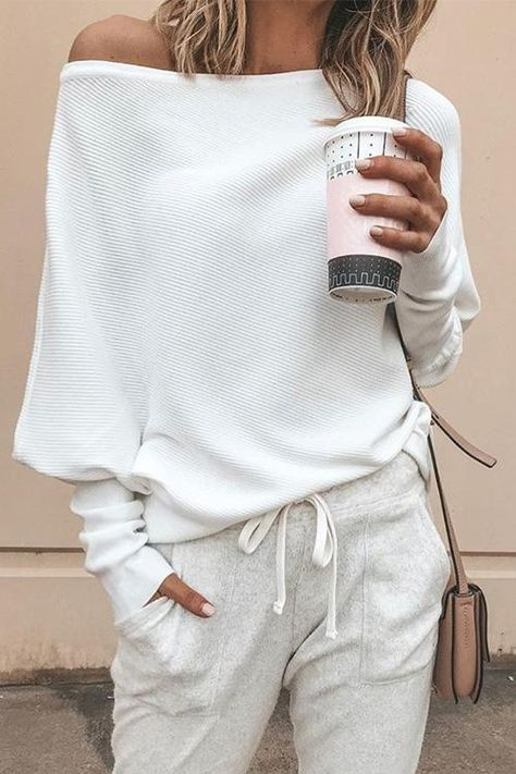 Off Shoulder Batwing Sleeve Casual Sweaters(5 Colors)