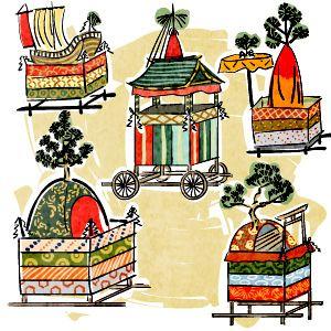 昔の祇園祭のイラスト 民間信仰 日本 祭り 暦