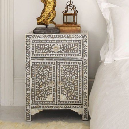 Classic Mother Of Pearl Inlay Side Table In Grey Furniture