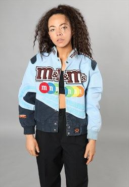 Vintage Official MnM Light Blue Nascar Jacket | Nascar jackets