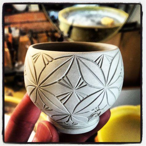 Carved porcelain cup.