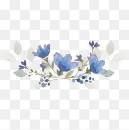 Elegant Blue Watercolor Flowers
