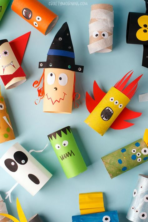 Toilet Paper Roll Halloween Characters - Halloween crafts for kids to make. Kids art project for halloween. Witch, ghost, vampire, frankenstein etc.