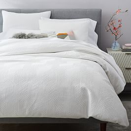 Tencel Cotton Matelasse Rippled Duvet Cover Shams Stone