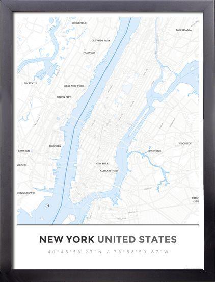 Framed Map Poster of New York United States Simple Ski Map Ski