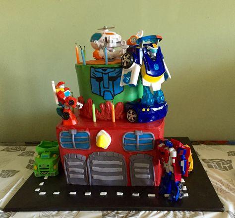 Cool Rescue Bot Cake Rescue Bots Birthday Transformer Birthday Funny Birthday Cards Online Alyptdamsfinfo