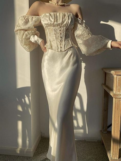 Champagne French 1920s Blouse & Satin Maxi Skirt