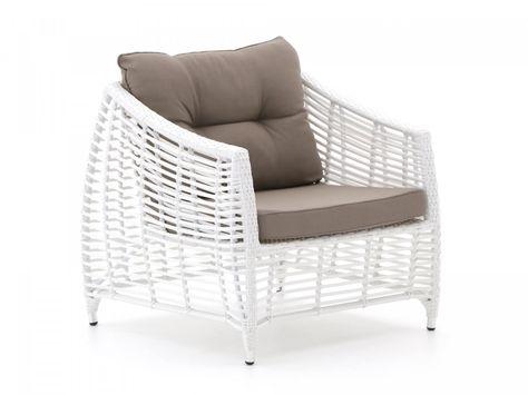Landelijke Lounge Stoel.Landelijke Lounge Tuinstoel In De Kleur Wit Met Bruine Kussens