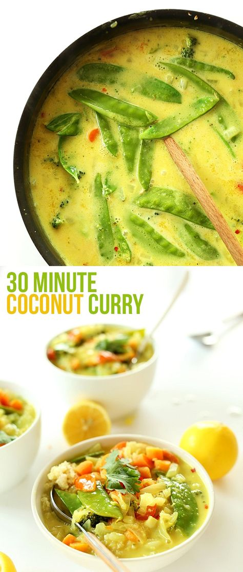 30 Minute Coconut Curry, loaded with veggies and creamy coconut flavour.  #food #glutenfree #healthy #vegan