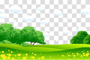 Green Trees Under Blue Clouds Illustration Cartoon Landscape Painting Illustration Green Grass White Grassland Cartoon Trees Cloud Illustration Cartoon Grass