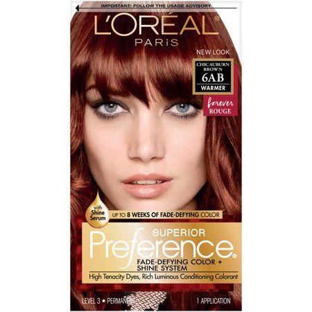 L Oreal Paris Superior Preference Fade Defying Shine Permanent Hair Color 6ab Chic Auburn Brown 1 Kit Walmart Com Hair Color Auburn Hair Color Auburn Brown Loreal Paris