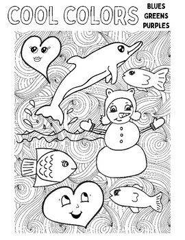 Warm And Cool Colors Coloring Pages By Art Is Basic Teachers Pay Teachers Warm And Cool Colors Cool Coloring Pages Elementary Art Lesson Plans
