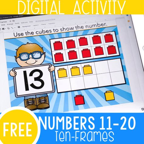 Perfect for distance learning- No printer needed Ten Frame Activities, Kindergarten Math Activities, Learning Activities, Subtraction Kindergarten, Free Activities, Kindergarten Reading, Teen Numbers, Free Teen, Free Math