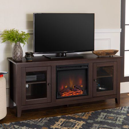 Home Fireplace Tv Stand Tv Stand With Glass Doors Traditional