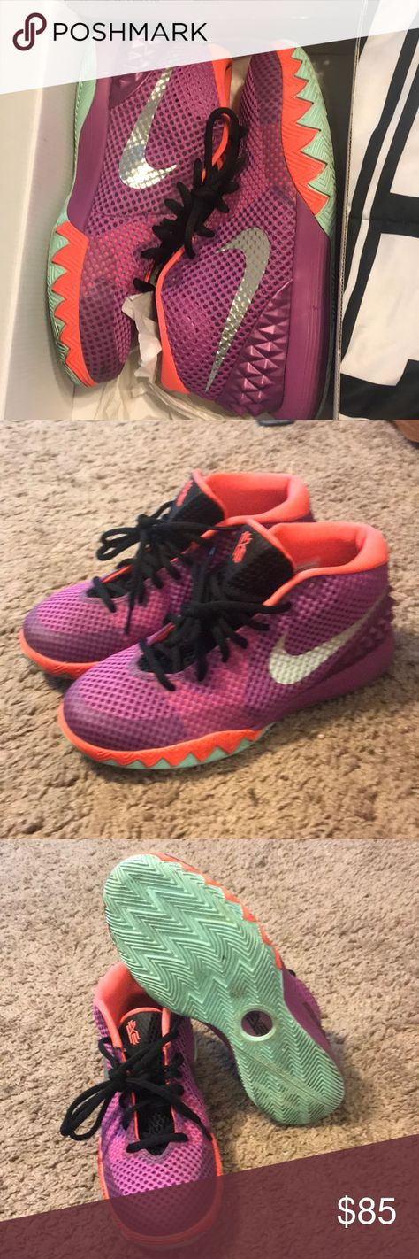 """0f6217772c69 Kyrie 1 """"Easter"""" Medium Berry Hot Lava Black Metallic Silver Nike Kyrie 1  Condition 8 10 Box included Fits size 7.5 in women 5.5 in youth Nike Shoes  ..."""