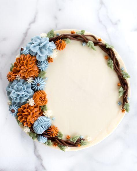 Buttercream Autumn Wreath Cake - Flour & Floral