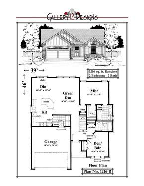 1216 R House Floor Plans Bedroom House Plans Lake House Plans