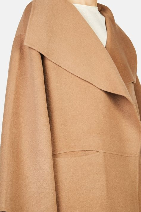 Annecy Draped Lapel Coat - Camel