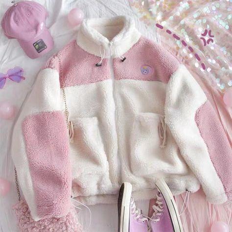 CUTE LAMB VELVET STITCHING COAT BY24077 Harajuku Fashion, Kawaii Fashion, Cute Fashion, Fashion Outfits, Pastel Fashion, Aesthetic Fashion, Aesthetic Clothes, Kawaii Clothes, Kawaii Outfit