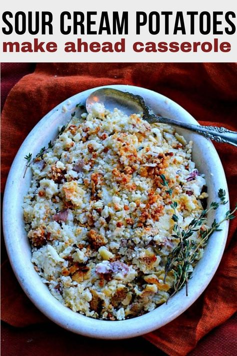 Make ahead mashed potato casserole. Make this A day or even two days in advance of Thanksgiving, Christmas or a dinner party. Entertaining just got easier. Creamy mashed potato casserole recipe with sour cream, chives and a toasty parmesan panko crust. #casserole #potato #recipes #mashed