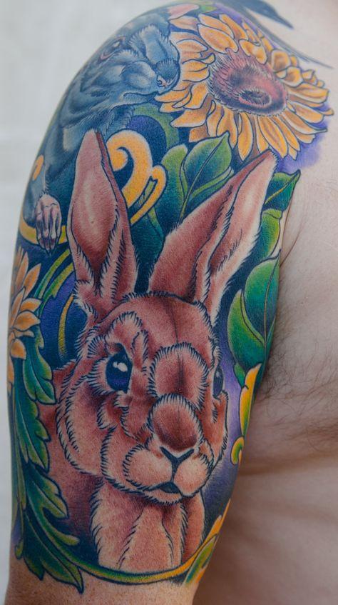 d6a7e04d73baf Illustrative rat and rabbit half sleeve by Nathaniel Gann at Remington  Tattoo; San Diego, CA.