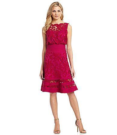 Tadashi Illusion Lace Blouson Dress #Dillards